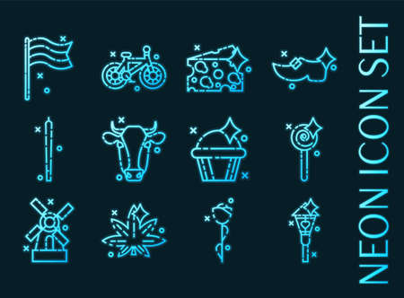 Holland set icons. Blue glowing neon style. 矢量图像