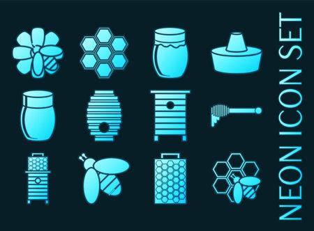 Honey set icons. Blue glowing neon style. 矢量图像