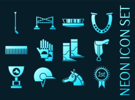 Horse riding set icons. Blue glowing neon style.
