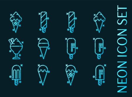 Ice-cream set icons. Blue glowing neon style.