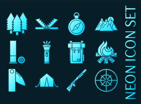 Hunting set icons. Blue glowing neon style