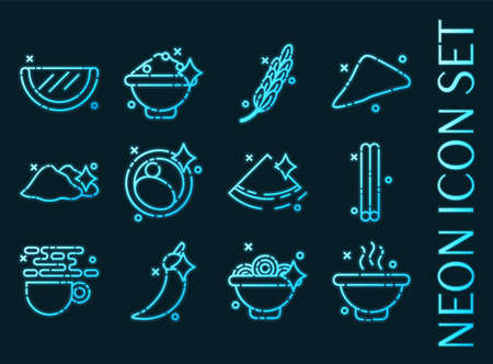 Indian food set icons. Blue glowing neon style