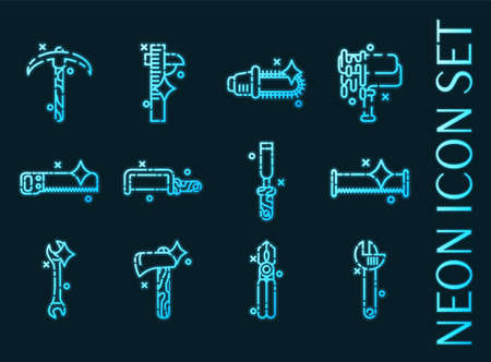 Instruments set icons. Blue glowing neon style