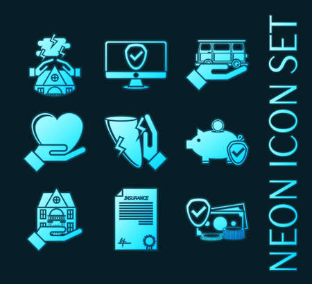 Set of Insurance blue glowing neon icons