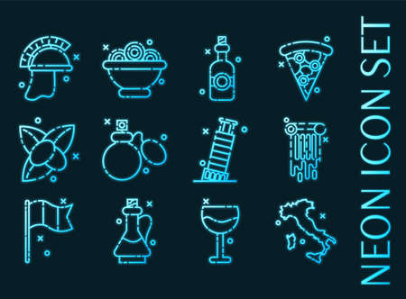 Italy set icons. Blue glowing neon style 矢量图像