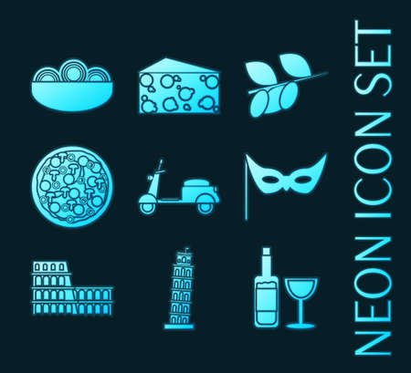 Set of Italy blue glowing neon icons