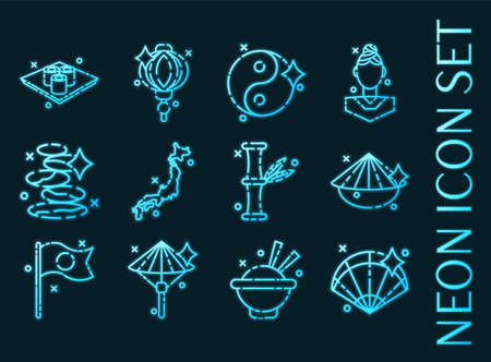 Japan set icons. Blue glowing neon style.