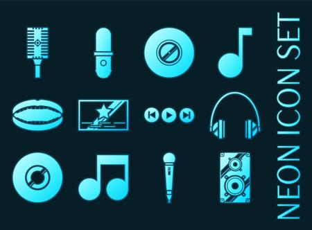 Karaoke set icons. Blue glowing neon style. 矢量图像