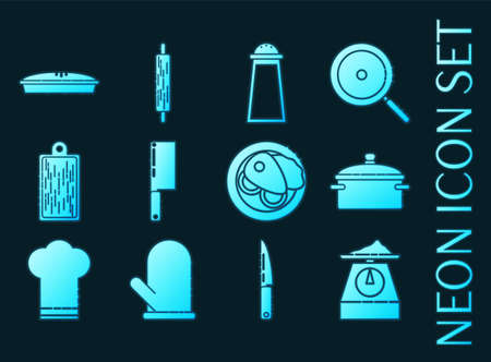 Kitchen set icons. Blue glowing neon style.
