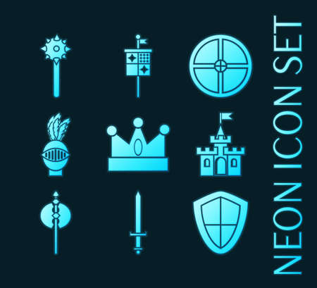 Set of Knights blue glowing neon icons.