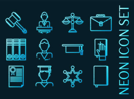 Law set icons. Blue glowing neon style.