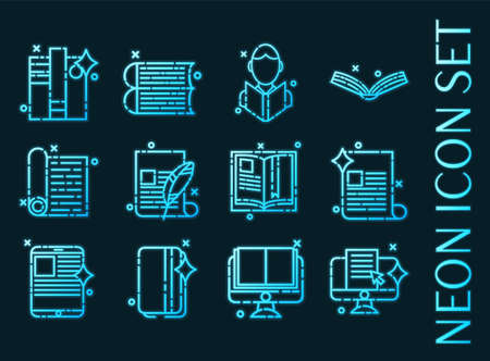 Library set icons. Blue glowing neon style.