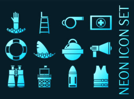 Lifeguard set icons. Blue glowing neon style.