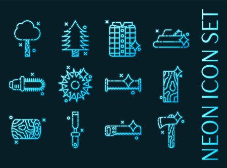Lumberjack set icons. Blue glowing neon style. 矢量图像