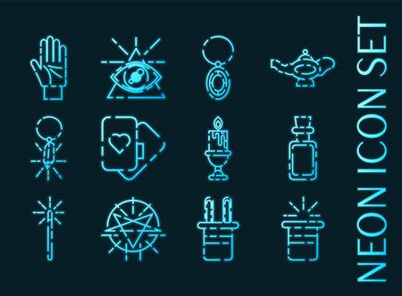 Magic set icons. Blue glowing neon style 矢量图像