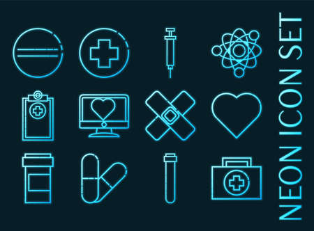 MEDICAL set icons. Blue glowing neon style