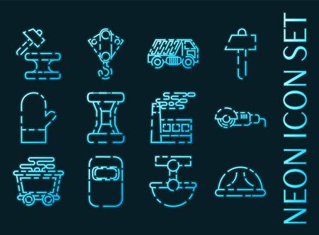 Metallurgy set icons. Blue glowing neon style.
