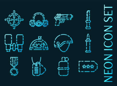 Military set icons. Blue glowing neon style. 矢量图像