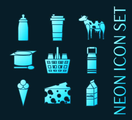 Set of Milk Blue glowing neon icons 矢量图像
