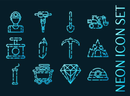 Mining set icons. Blue glowing neon style.