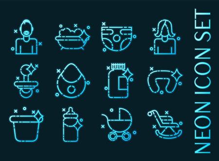 Motherhood set icons. Blue glowing neon style