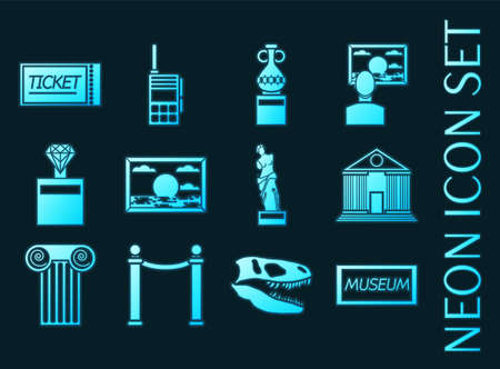 Museum set icons. Blue glowing neon style 矢量图像