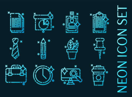 Office set icons. Blue glowing neon style. 矢量图像
