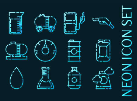 Oil industry set icons. Blue glowing neon style. 矢量图像