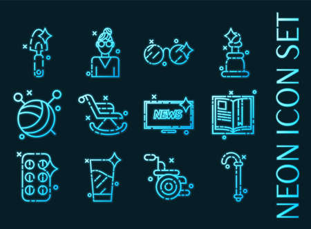 Old age set icons. Blue glowing neon style 矢量图像