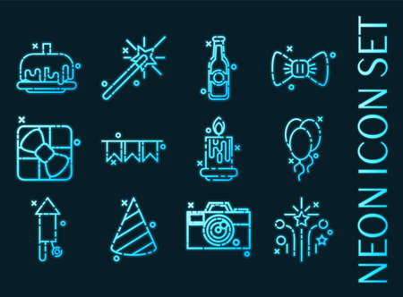 Party set icons. Blue glowing neon style. 矢量图像
