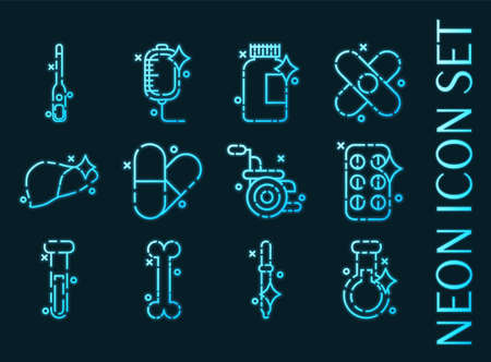 Pharmacy set icons. Blue glowing neon style
