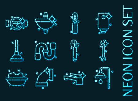 Plumbing set icons. Blue glowing neon style.