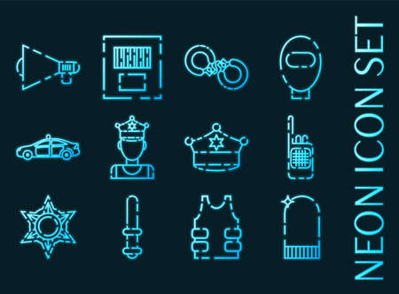 Police set icons. Blue glowing neon style.