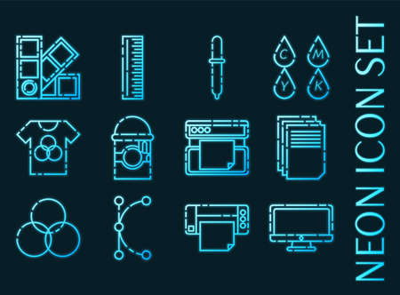 Polygraphy set icons. Blue glowing neon style 矢量图像