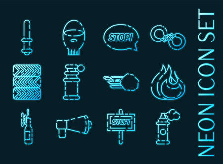 Protest set icons. Blue glowing neon style.