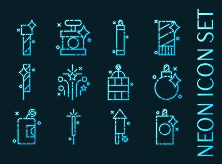 Pyrotechnics set icons. Blue glowing neon style. 矢量图像