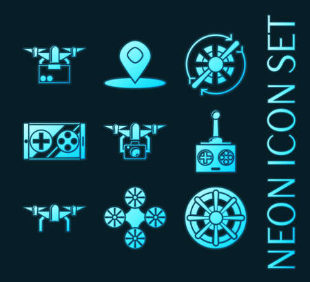 Set of Quadrocopter blue glowing neon icons.
