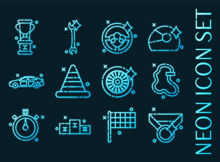 Racing set icons. Blue glowing neon style.
