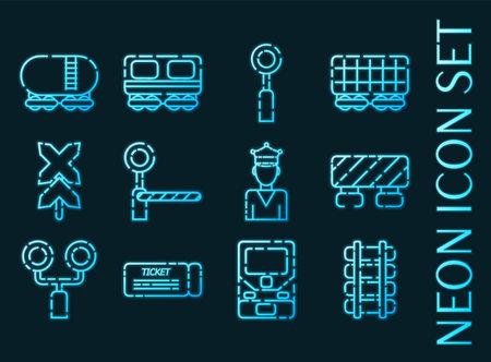 Railroads set icons. Blue glowing neon style.