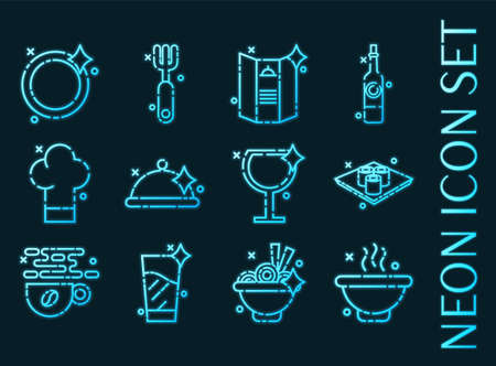 Restaurant set icons. Blue glowing neon style.