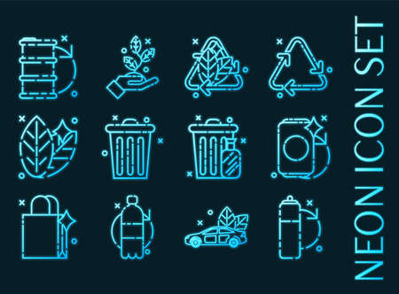 Recycling set icons. Blue glowing neon style.