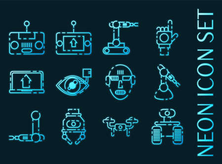Robotic set icons. Blue glowing neon style.