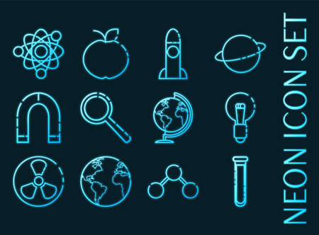 Science set icons. Blue glowing neon style. 矢量图像