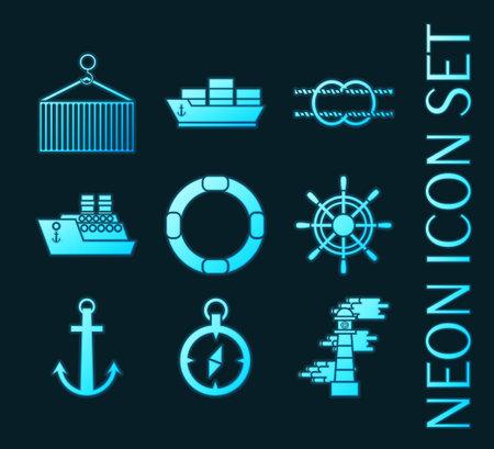 Set of Sea port glowing neon icons. 矢量图像