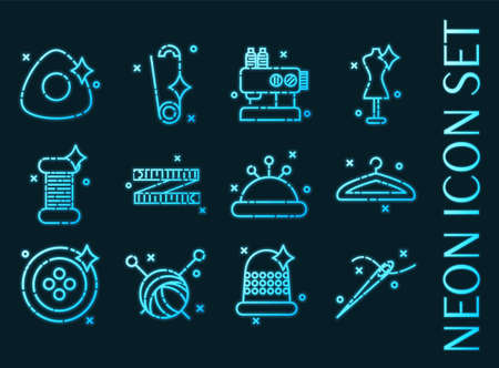 Sewing set icons. Blue glowing neon style. 矢量图像