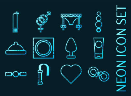 Sex shop set icons. Blue glowing neon style.