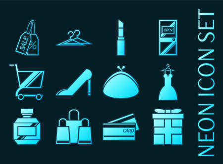 Shopping set icons. Blue glowing neon style.