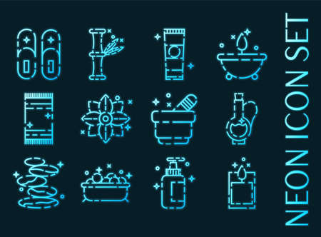 SPA set icons. Blue glowing neon style.