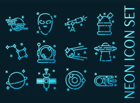 Space set icons. Blue glowing neon style. 矢量图像