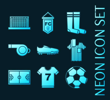 Set of Soccer blue glowing neon icons. 矢量图像